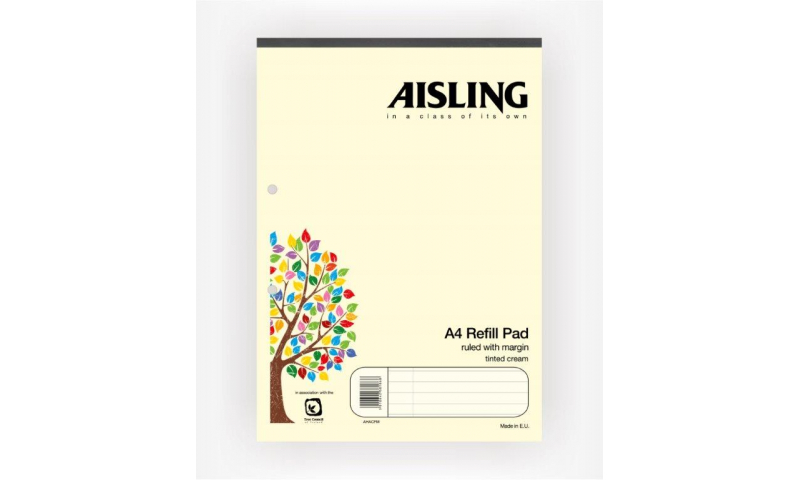 Aisling A4 Premium 50lf Refill Pad Cream Headbound F&M