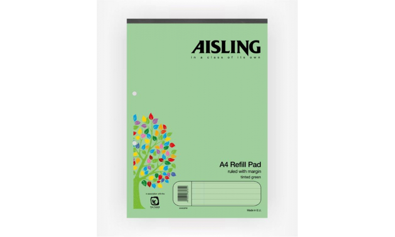 Aisling A4 Premium 50lf Refill Pad Green Headbound F&M