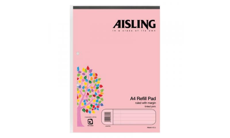Aisling A4 Premium 50lf Refill Pad Pink Headbound F&M