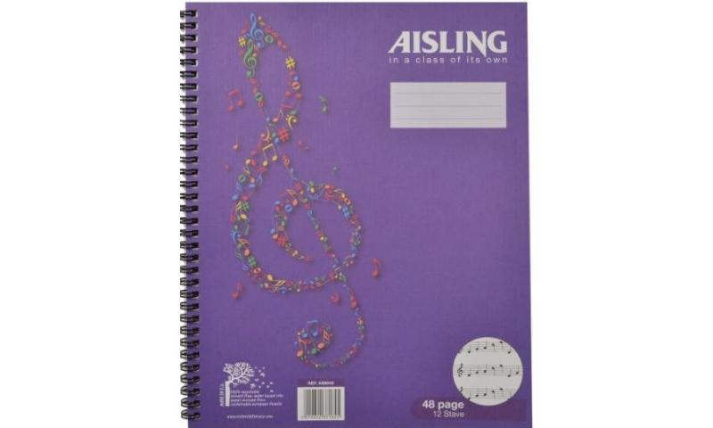 Aisling Music Wirobound Manuscript Book 295x235 48page