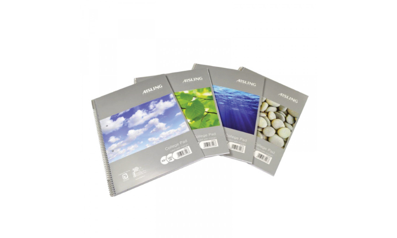 Aisling Recycled College Pad, A4 Spiral, P/P cover, 160 page F&M