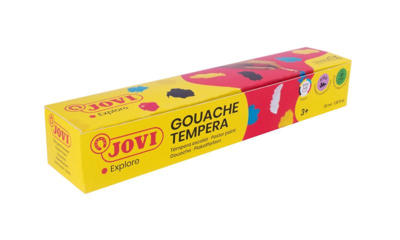 JOVI Tempera Gouache Paint, Box of 5 x 35ml Primary Colours & Brush