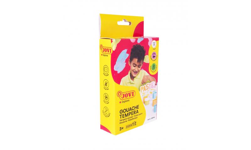 JOVI Tempera Poster Paint, Box of 6 x 35ml Pastel Colours & Brush