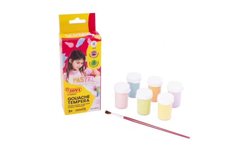 JOVI Tempera Paint, Hangbox of 6 x 15ml Pastel Colours & Brush