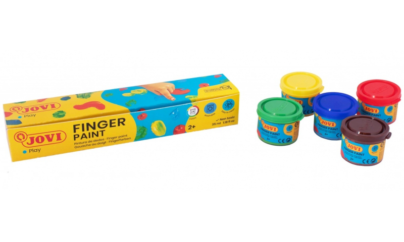 JOVI Kids Finger Paint 2+ Certified, Box of 5 x 35ml Primary Colours