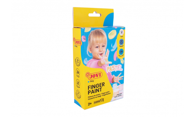 JOVI Kids Finger Paint 2+ Certified, Box of 6 x 15ml in Pastel Colours