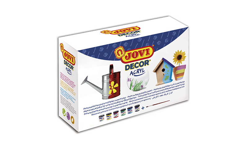 JOVI Decor Acrylic Paint, Display Box of 6 x 55ml Primary Colours