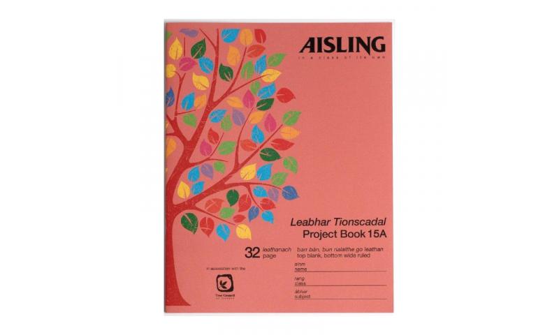 Aisling Project Book 9x7, Half Plain Half Ruled, 32 Page, 12 mm feints, 20pk