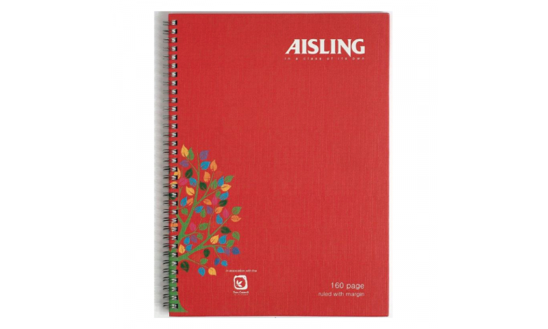 Aisling A4 Spiral Hardcase Ruled Notebook, 160 Page