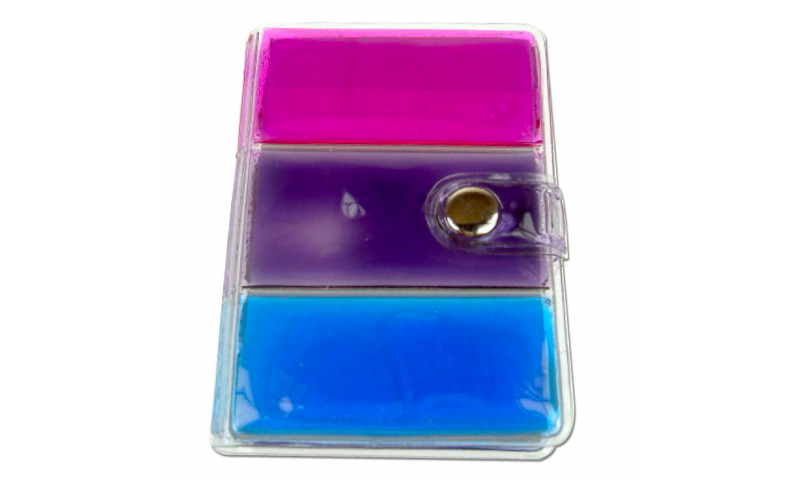 Rainbow Gel Filled Adress Book, Notes & address sections, fold over clasp: On Special Offer