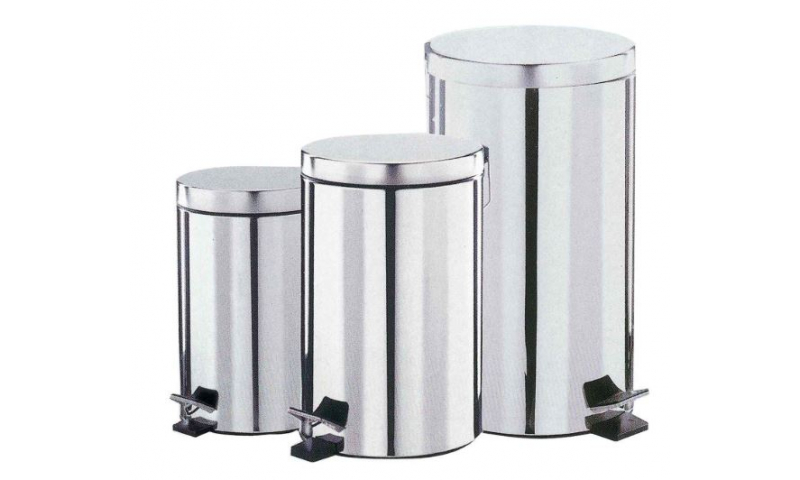 Polished Large Stainless Steel Pedal Bin 28-30 Litre