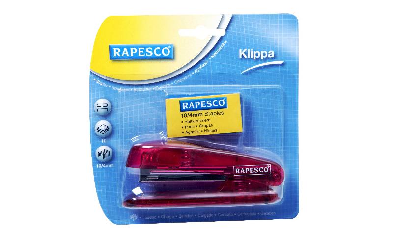 Rapesco Klippa Pocket Stapler 10/4mm + 1000 Staples Carded Asstd.  (New Lower Price for 2021)