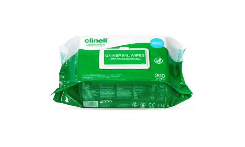 Clinell Hand & Surface Universal Disinfection wipes, 200pk : PCS98647