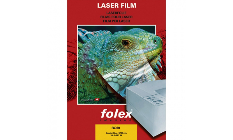 Folex BG60 Mono Clear Laser transparency Film A4, Single Feed, 100 Sheet: On Special Offer