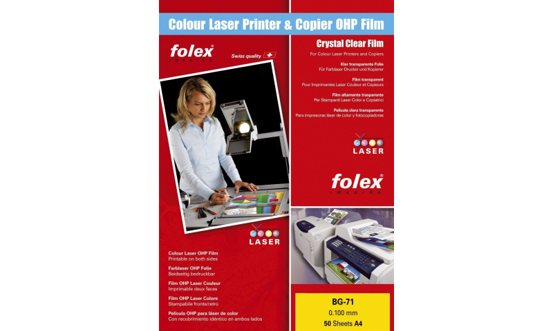 Folex BG72 A4 Colour Laser Transparencies 50 Sheets 0.100mm, Hi- Heat Stability: On Special Offer