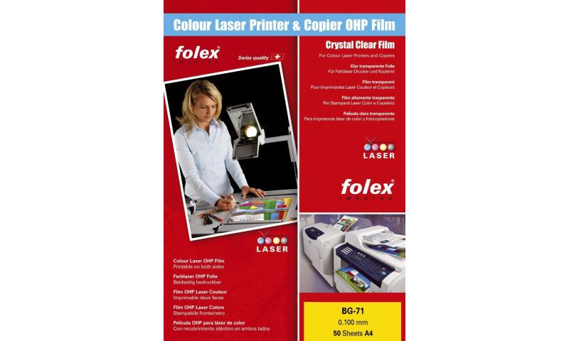 Folex BG74 Clear A4 Colour Laser Transparencies 50 Sheets 0.100mm