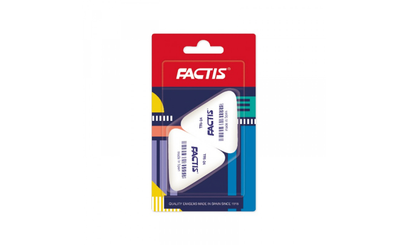 Factis TRI 24 Triangular Pencil Eraser, Hang card of 2 (New Lower Price for 2021)