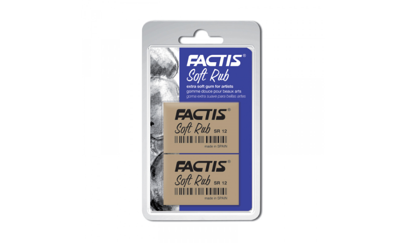 Factis Fine Art, Extra Soft, Rubber Eraser, Hang card of 2