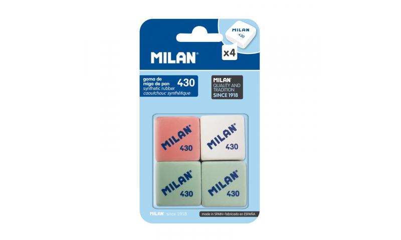 Milan 430 Pencil Eraser for Compact Sharpeneraser, 4pk Asstd Hangcarded