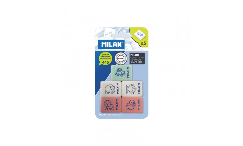 Milan Mini Eraser 5 Pack, Asstd  (New Lower Price for 2021)