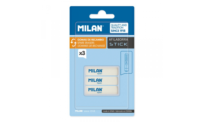 Milan Stick Spare Eraser, 3 Pack  (New Lower Price for 2021)