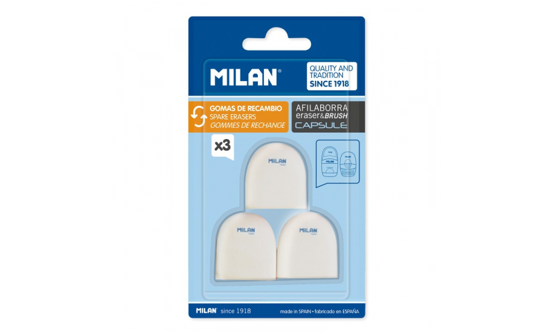 Milan Capsule Spare Eraser, 3 Pack  (New Lower Price for 2021)