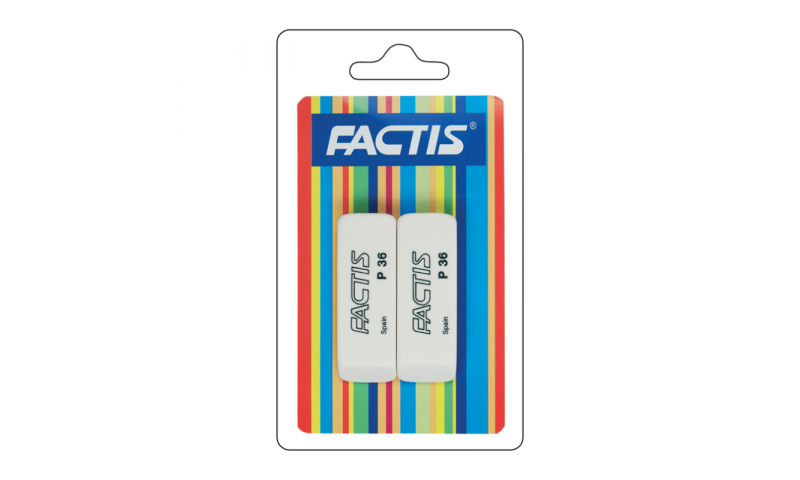 Factis P36 School Eraser, Hang card of 2 - Most Popular (New Lower Price for 2021)