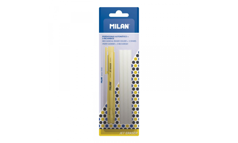 Milan Jet Retractable Eraser & 3 Spare Refills, Carded