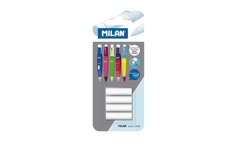 Milan Capsule Pencil replacement erasers Card of 4 (New Lower Price for 2021)