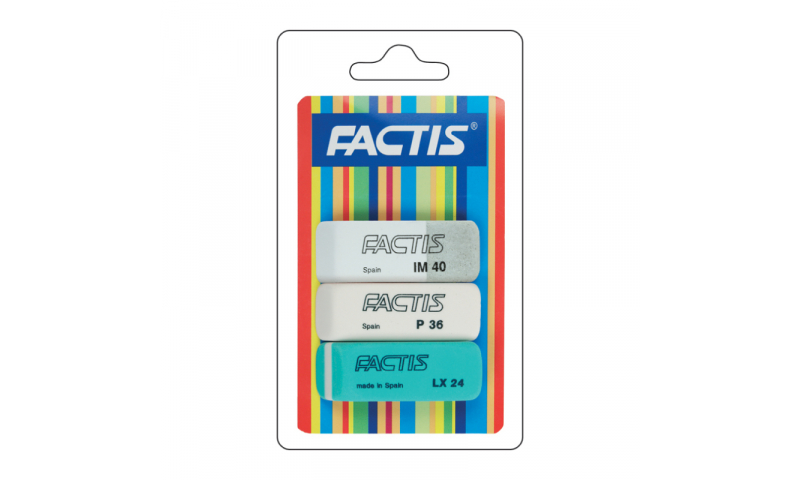 Factis Triple pack of Most Popular Erasers on hanging card (New Lower Price for 2021)