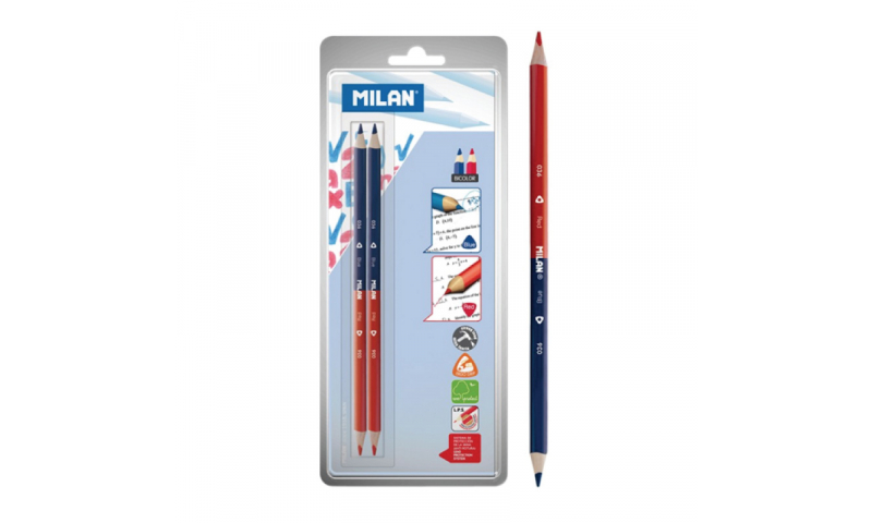 Milan Bi-Colour Red-Blue Maxi Triangular Pencils, Twinpack carded (New Lower Price for 2021)
