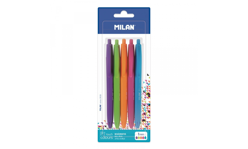 Milan P1 Soft Touch Retractable Ballpen, Pastel Inks, 5 Pack, Asstd (New Lower Price for 2021)