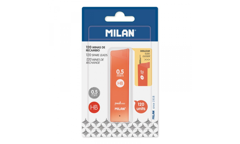 Milan Polymar Leads Refill, 0.5mm/HB, Carded Maxi Pack of 120 Leads  (New Lower Price for 2021)