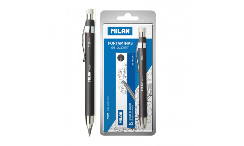 Milan Clutch Pencils, 5.2mm lead with Sharpener & 6 Spare Leads, carded.  (New Lower Price for 2021)
