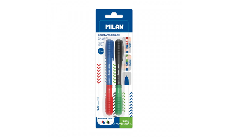 Milan Combi Duo 4 Primary Colours Ballpen, Mix & Match Twinpack Carded (New Design)