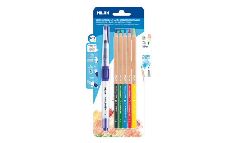 Milan Water Brush with 5 Thick Lead Watercolour Pencils, Carded