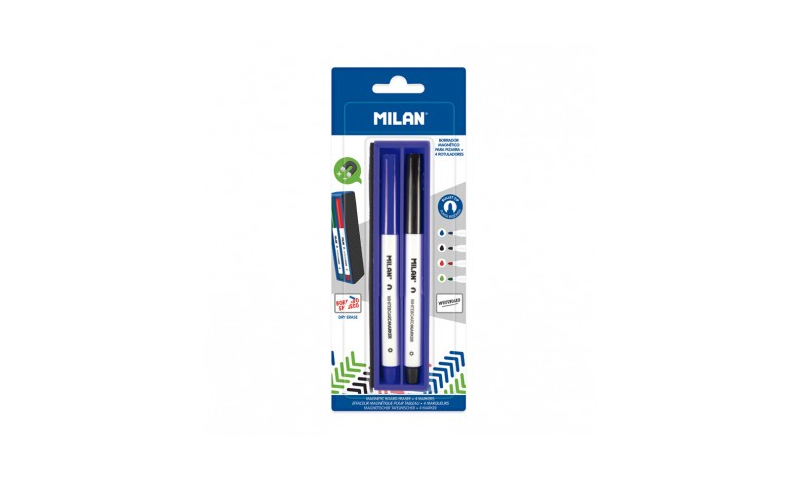 Milan Magnetic Whiteboard Cleaner & 4 Markers Carded (New Lower Price for 2021)