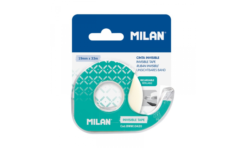 Milan Invisible Matt Adhesive tape 19 mm x 33 m, with Dispenser, Blister pack.