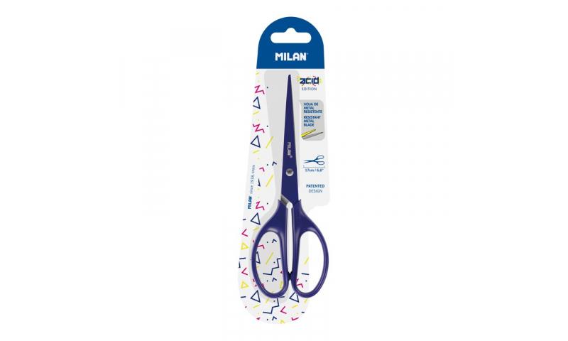 Milan Fine Point office scissors 17 cm Acid Edition with resistant metal blade, Blister pack, 2 Asstd (New Design)