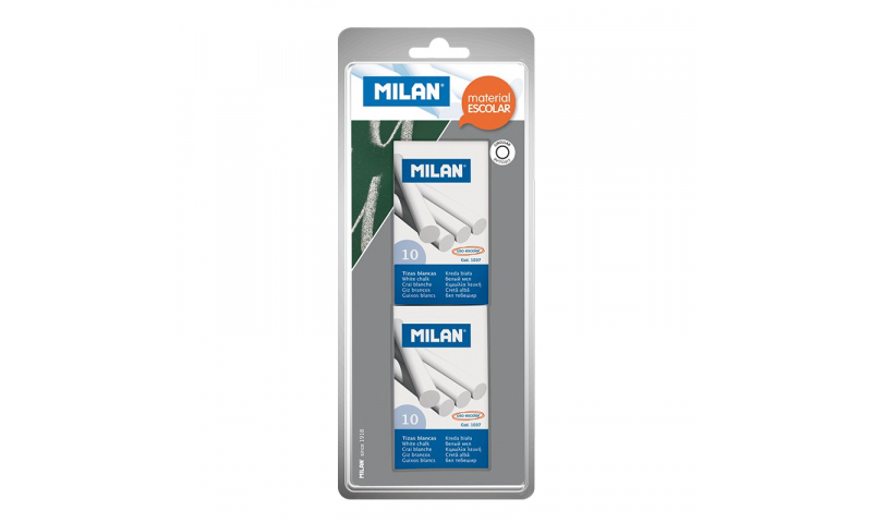 Milan Chalk, White, Hang card of 2 x Box of 10 sticks (New Lower Price for 2021)