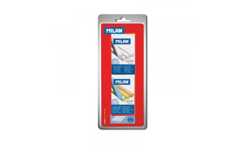 Milan Chalk, White & Assorted colours, Hang card 1 Box each x 10 sticks (New Lower Price for 2021)