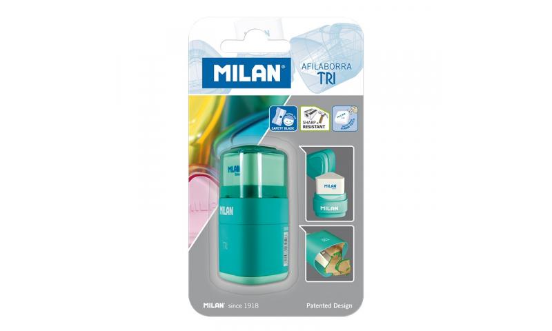 Milan Triangular SharpenEraser, Carded, 4 Asstd Colours