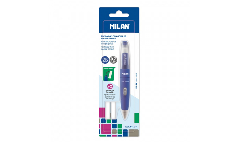 Milan Propelling Pencil & 2 Spare Erasers, 0.7mm Carded