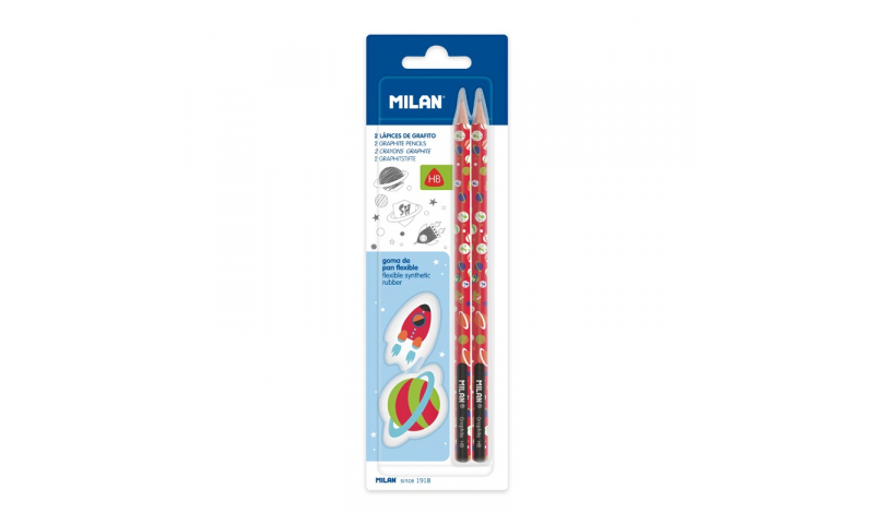 Milan Space Heroes Pencils & Eraser, 4 Pce Carded Set
