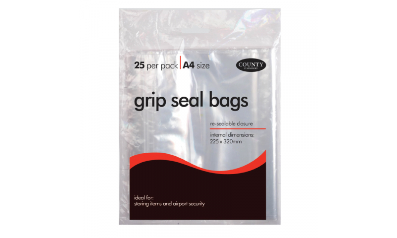 County Stationery A4 Gripseal Bags 225x320mm Pack of 25