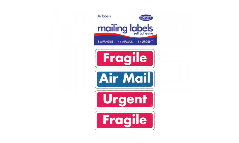 County Stationery Retail Packed Fragile/Urgent Labels 16 Labels