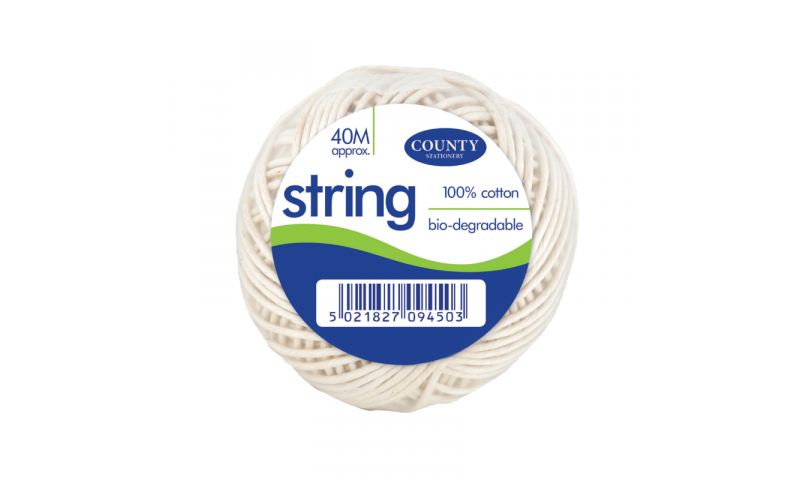 County Stationery 40M Ball of White String (New Lower Price for 2021)