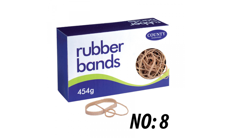 County Stationery Boxed Rubber Bands Size 8 454g (New Lower Price for 2021)