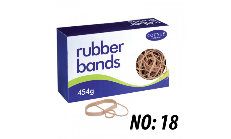 County Stationery Boxed Rubber Bands Size 18, 454g (New Lower Price for 2021)