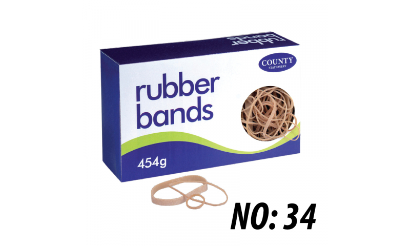 County Stationery Boxed Rubber Bands Size 34, 454g (New Lower Price for 2021)